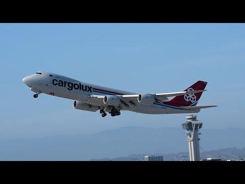 Cargolux Boeing 747-8F [LX-VCK] Departing LAX.