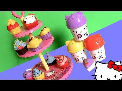 Play Doh Hello Kitty Cupcake Tower Dough Plastilina Torre De Pasteles Pastelitos ハローキティ | キャラクター video