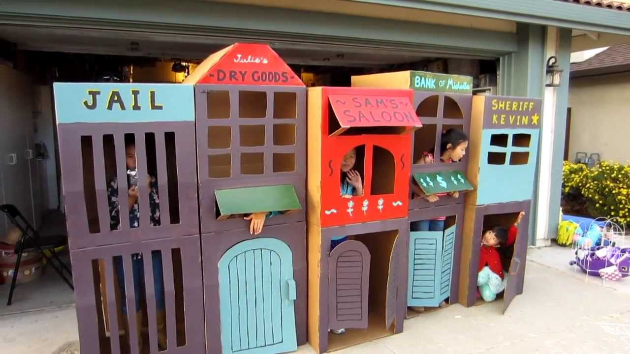 Cool Homemade Kid Sized Kids Cardboard Town Youtube
