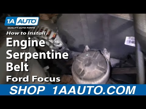 How To Install Replace Engine Serpentine Belt Ford Focus Zetec DOHC 1AAuto.com