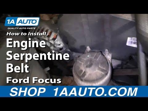 How To Install Replace Engine Serpentine Belt Ford Focus Zetec DOHC 1AAuto.com