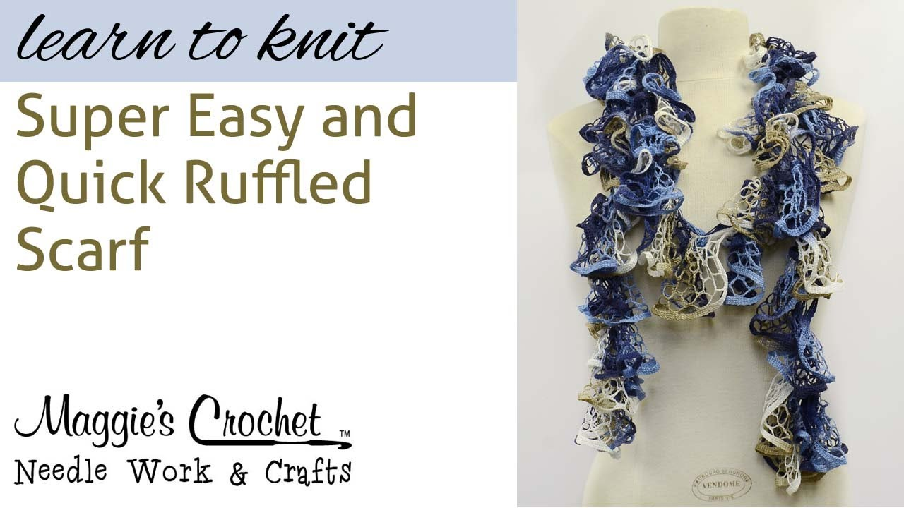 Ruffled Scarf Knitting - Right Hand - Knit Quick SUPER EASY - YouTube