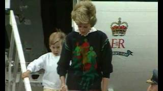 Princess Diana arrives in Scotland with Prince William and Prince Harry for a family holiday