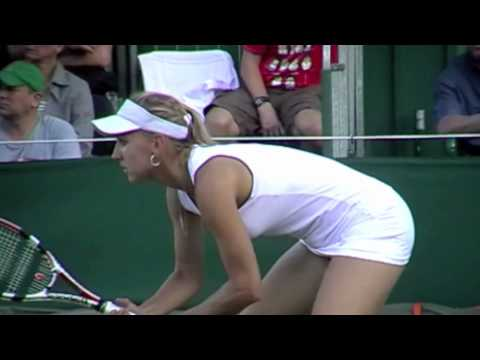Elena Vesnina swings her hips, slips and falls playing Barbora Zahlavova Strycova Wimbledon Tennis Video