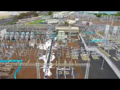 Penrose Substation fire Aerial footage - Auckland...