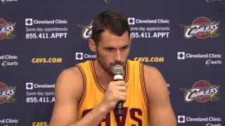 Kevin Love talks at Cleveland Cavaliers Media Day