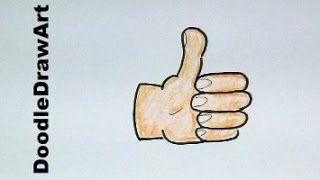 Drawing: How To Draw Cartoon Thumbs Up - Step by Step - Emoji style!!