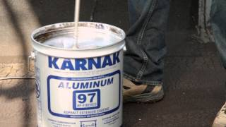 How to Apply Reflective Fibered Aluminum Roof Coating on an aged flat roof - Karnak 97