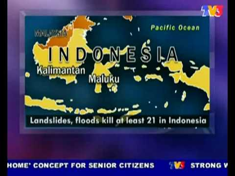 Landslides & flood kill 21 people @ Maluku, Indonesia (Nightline 26/7/10)