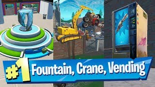 Spray a Fountain, a Junkyard Crane and a Vending Machine Locations - Fortnite (Spray & Pray)