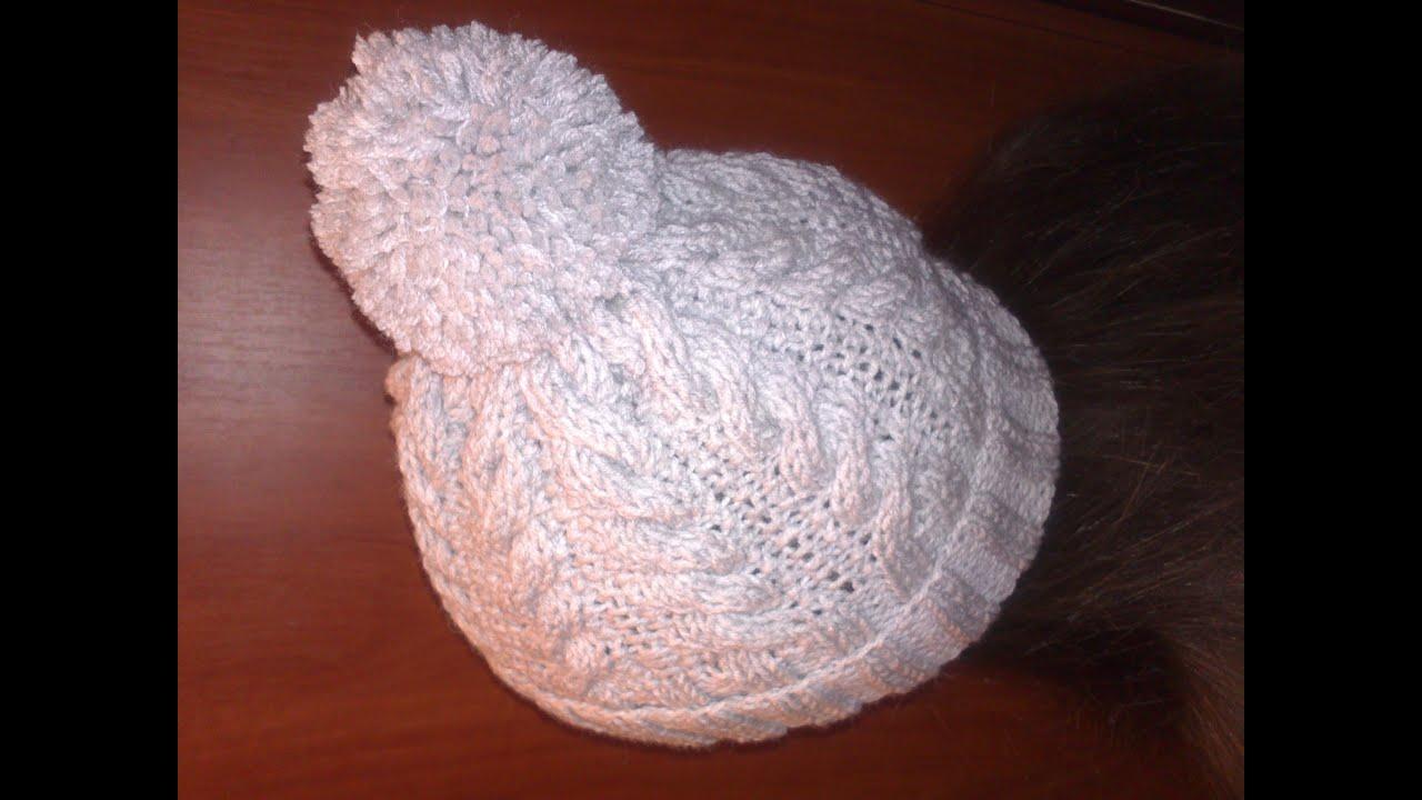 Вязание шапки с поперечной косой 14
