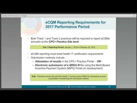 Comprehensive Primary Care Plus (CPC+): Quality and Health IT Overview