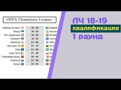 Футбол. Лига Чемпионов 2018-2019. 1 раунд квалификация. Результаты. Расписание.