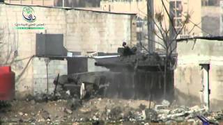 Syria Syrian Tank In Mezzeh Military Airport Firing Towards Daraya, Damascus 1-19-13