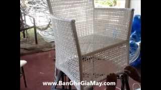 Công đoạn sản xuất bàn ghế giả mây tại xưởng Minh Thy - Round Seat Set
