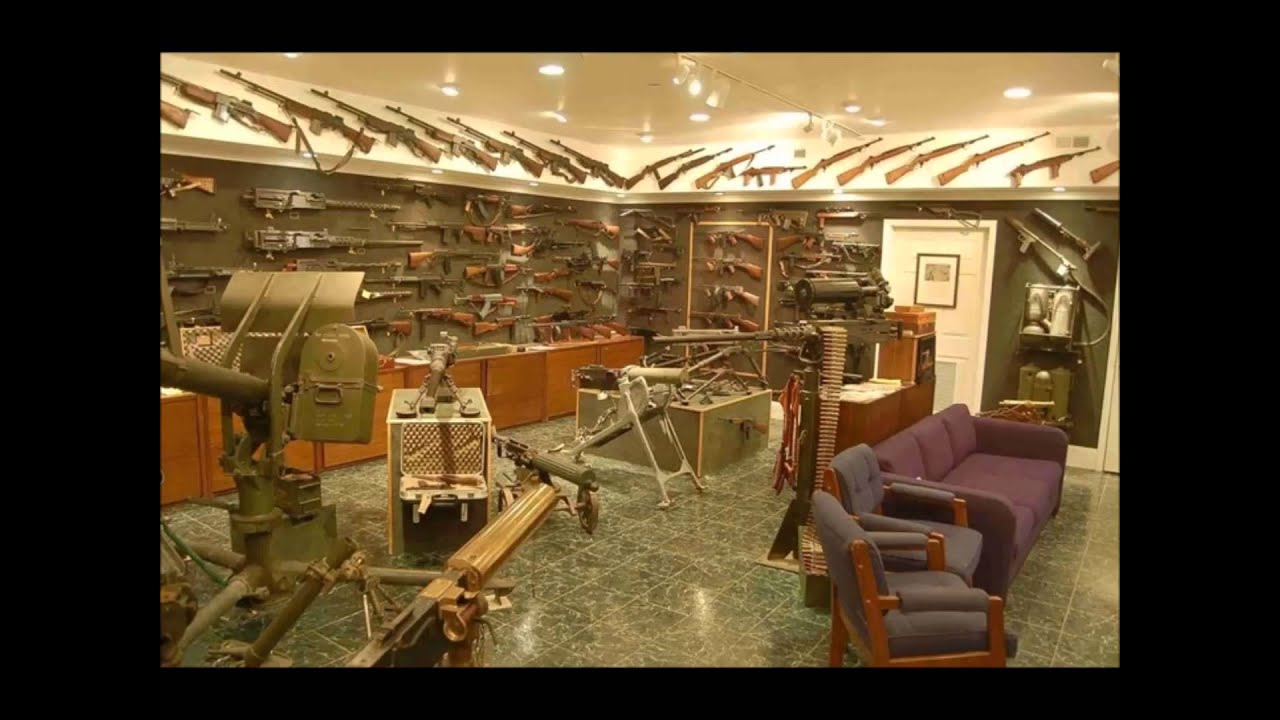The late actor charlton heston 39 s basement gun vault youtube for Gun vault room
