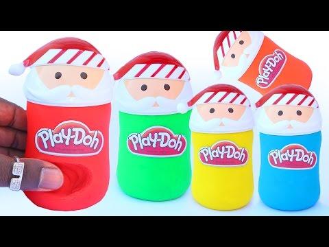 Play Doh DIY How To Make Santa Claus Gilft Bottles For Kids Christmas Ho Ho Ho Jingle Bell Modelling