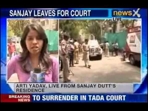 News X : Sanjay Dutt leaves for TADA Court - Part 1