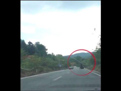 中国で起きた民間ヘリコプターの事故映像