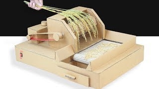 How To Make Mini Rice Thresher Machine From Cardboard ! DIY Rice Thresher