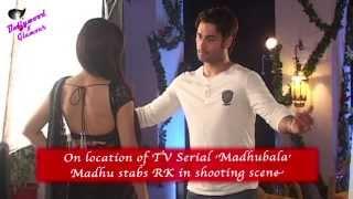 On location of TV Serial 'Madhubala'  Madhu stabs RK in shooting scene
