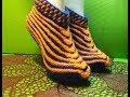 Вязание спицами домашние тапочки #186