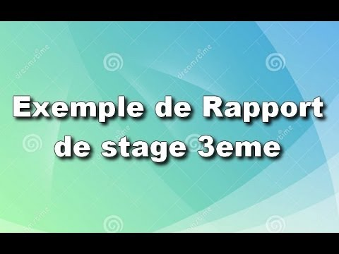 Exemple rapport de stage 3eme youtube for Introduction rapport de stage cuisine