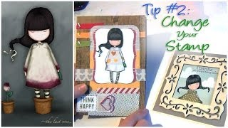 "TIP #2: ""Stamp Surgery"" Gorjuss Girls - The Last Rose - Change your Stamps Plus Card Tutorial"