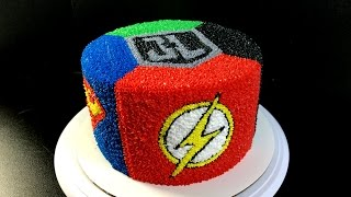 Justice League Buttercream Cake - (Batman, The Flash, Superman, Green Lantern)