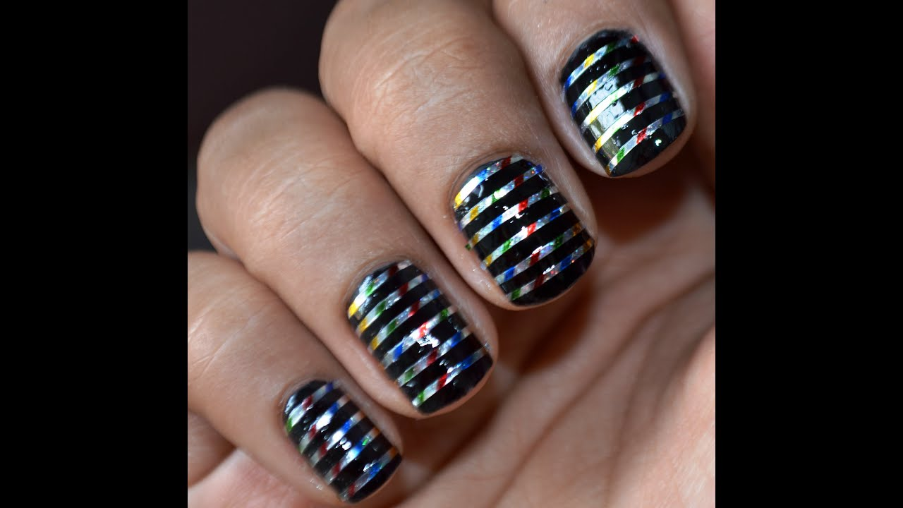 Cute Nail Art Designs With Striping Tape