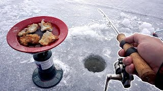 Crappie Catch and Cook ON THE ICE!!! Freshest Fish EVER