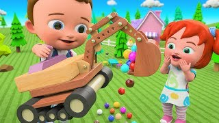 DIY Kids Activities - Little Babies Fun Play Assemble Excavator Wooden ToySet | Color Balls for Kids