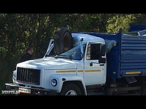 Колесо прилетело в кабину грузовика