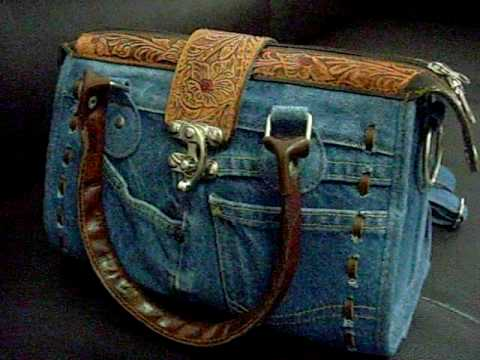 Hard To Find Jeans And Leather Ladies' Handbag  V1