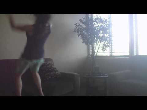 Girl does back flip off couch October 1st 2010