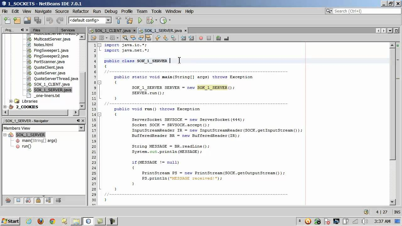 java sockets client server: