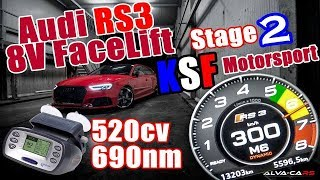 ⭐2018 Audi RS3 8v2 520hp/690nm Stage 2 KSF MotorSport 100-300Km/h VBOX⭐