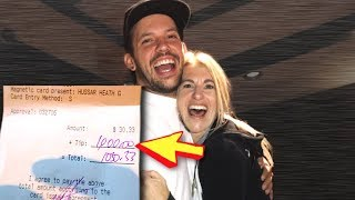 SURPRISING WAITRESS WITH $1,000 TIP!!