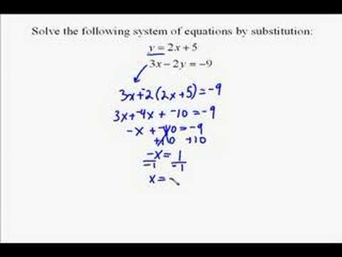 a17 4 solving a system of equations by substitution youtube. Black Bedroom Furniture Sets. Home Design Ideas