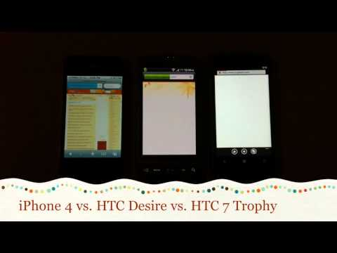 HTC 7 Trophy vs. iPhone 4 vs. HTC Desire