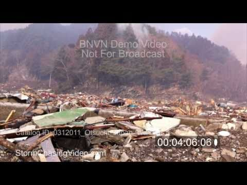3/12/2011 Stock Footage, Otsuchi Japan, Aftermath Walking Out Through The Ruins