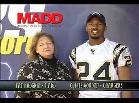 San Diego Chargers cornerback Cletis Gordon speaks on behalf of MADD, Mothers Against Drunk Driving. Video posted with permission by Cletis Gordon and MADD t...