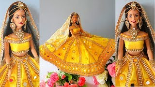 Barbie Lehenga with MIRROR WORK | How to decorate a doll using mirror |Indian bridal dress/jewellery