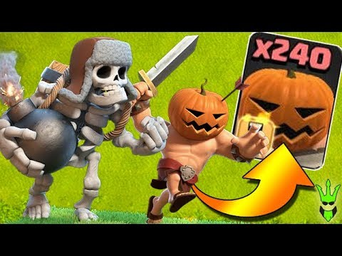 240 PUMPKIN BARBARIANS & MASS GIANT SKELETON! - NEW TROOPS - Clash of Clans (MASS GAMEPLAY)