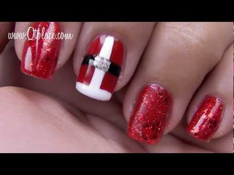 Christmas nail art tutorial: Santa's Clothing