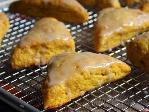 Pumpkin Scones - Pumpkin Scones with Pine Nuts and Maple Glaze