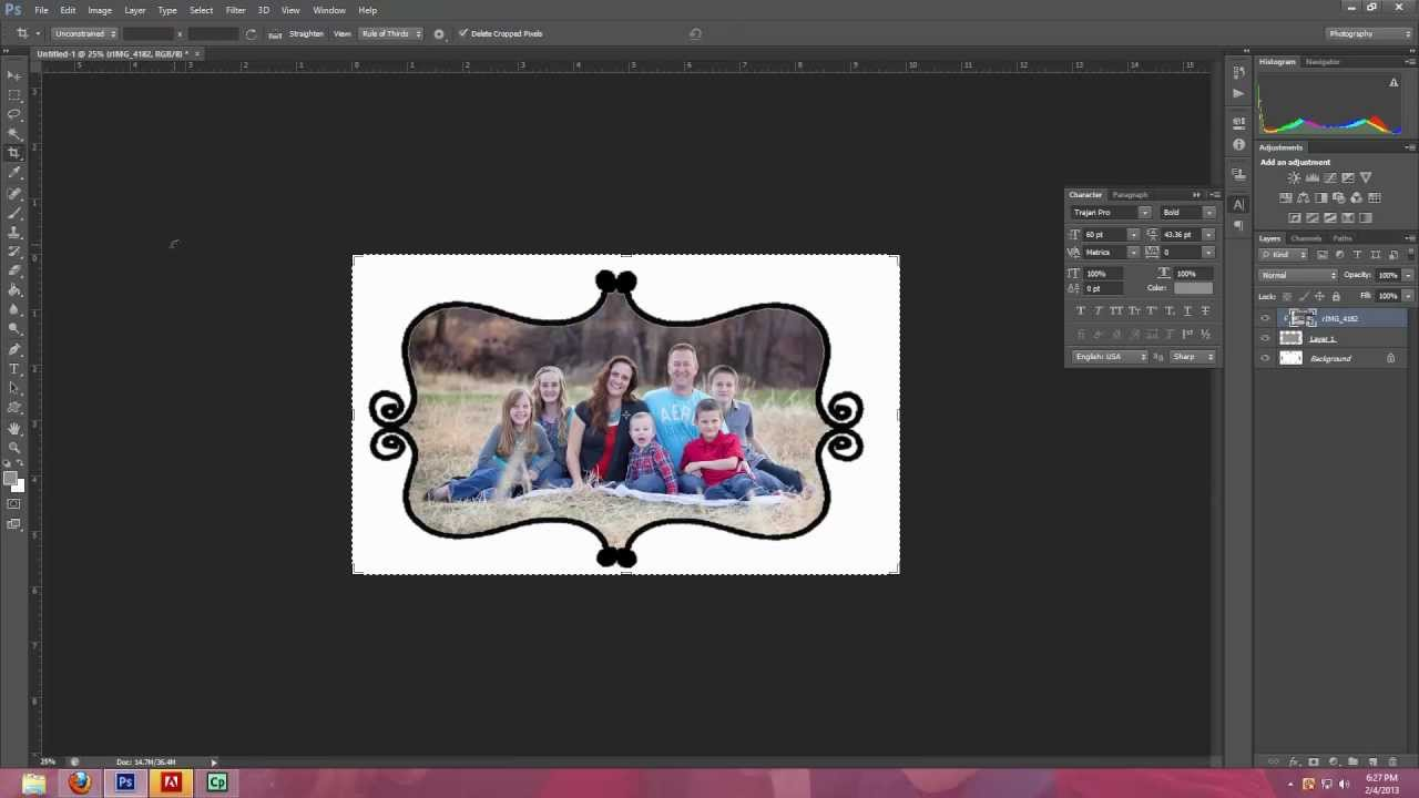 how to use photoshop brushes to make frames and borders in