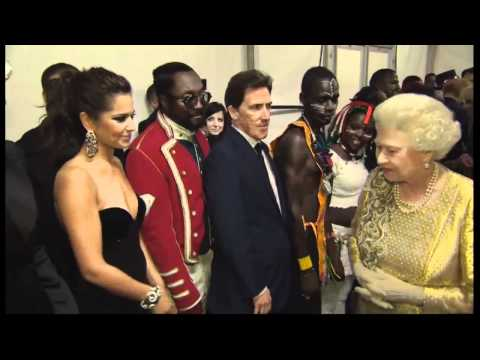 The Queen meets Cheryl Cole and Peter Kay backstage at Diamond Jubilee concert