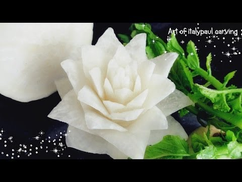 Art In White Radish Rose Flower | Vegetable Carving Garnish | Roses Garnish
