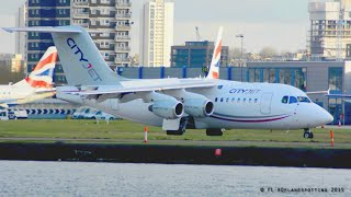 [New livery] CityJet Avro RJ-85 EI-RJT landing & takeoff at London City [LCY/EGLC]